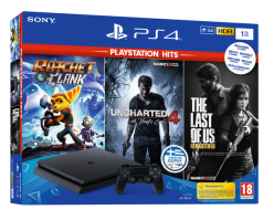 Sony Playstation 4 Slim 1TB + Ratchet & Clank & Uncharted 4 & The Last Of Us (Playstation Hits)
