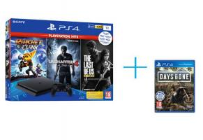 Sony Playstation 4 Slim 1TB F Chassis + Ratchet & Clank & Uncharted 4 & The Last Of Us (Playstation Hits) + Days Gone